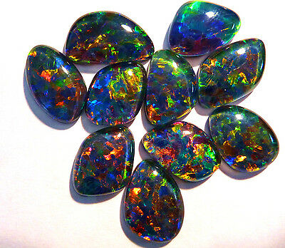 10 Super Gem Grade Freeform Australian Opal Triplets, Brilliant multicolours