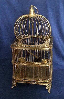 """Vintage Ornate Footed Solid Brass Domed Heavy Bird Cage Swing Perched Bowls 21"""""""