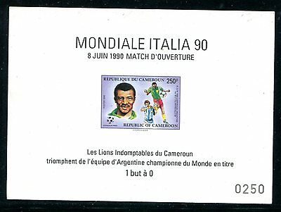 Cameroun 1990 World Cup Football Soccer Luxe On Cardboard ** Mnh  Rare!!!