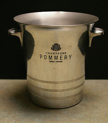 """Rare Vintage 'champagne Pommery' Reims-France 8"""" Tall Aluminum Ice Bucket"""
