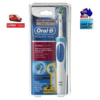 Oral B Vitality Plus FlossAction Rechargeable Electric Toothbrush +2 Brush Heads