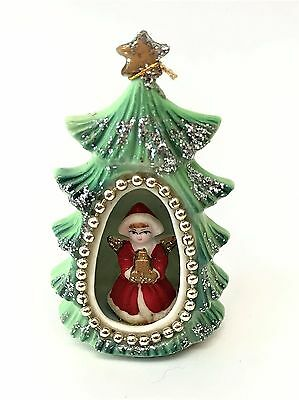 Beautiful VTG Genuine Bone China Japan Ornament Christmas Tree Diorama w/ Angel