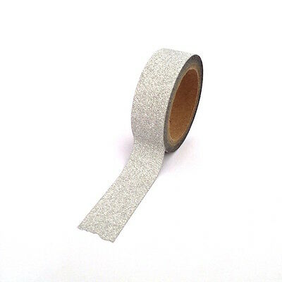Glitter Tape Silver Washi 15mm x 10m