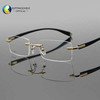 07a460ca23 Designer Men s Rimless Flexible Myopia Eyeglasses Frames Optical Eyewear RX  Able