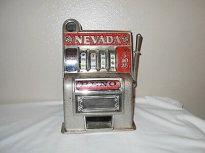Vintage Reno Nevada Metal Slot Machine Coin Bank ~ for parts