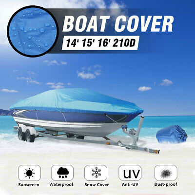 14-16ft / 4.88m-2.3m Waterproof Trailerable Boat Cover 90'' Beam Heavy-Duty 210D