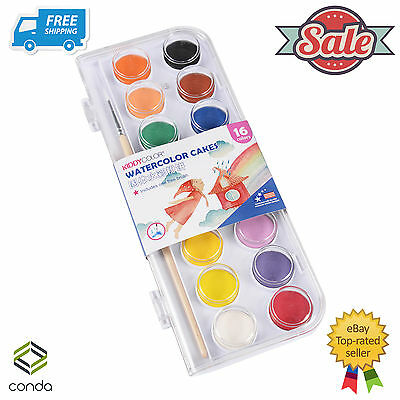 16 Color Fundamental Water Color Pan Set Non-Toxic Artist Cake Kit 1 Paint Brush