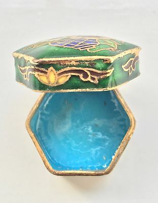 Vintage box hexagonal Chinese Cloisonne