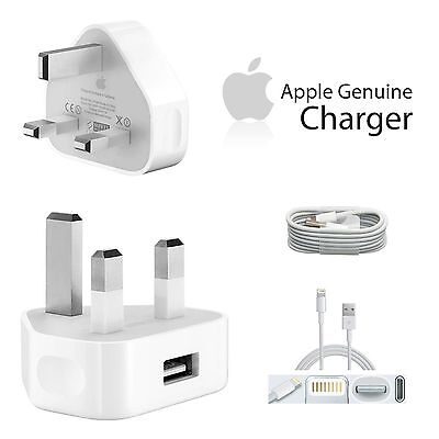 GENUINE Main Wall Plug Charger & USB Data Cable for iphone Apple 7 6S 5S 5 ipad