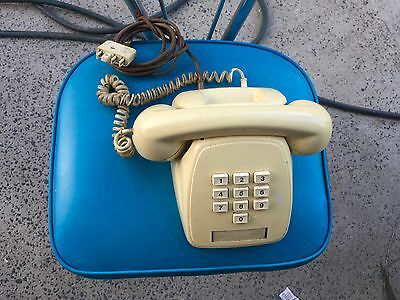 Vintage Working Phone Yellow Push Button Cord 1978 Telecom Telephone