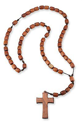 Brown Jatoba Wooden Beads Catholic Rosary Necklace with Cross Crucifix, 21 Inch