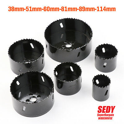 6 Size Hole Saw Bi Metal Timber Rotary Holesaw Drill Bit 38 51 60 81 89 114 mm