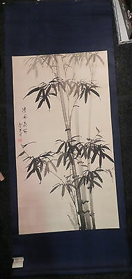 Vintage Chinese Painting on Silk Scroll Hand Painted & Signed Black Bamboo 56x23