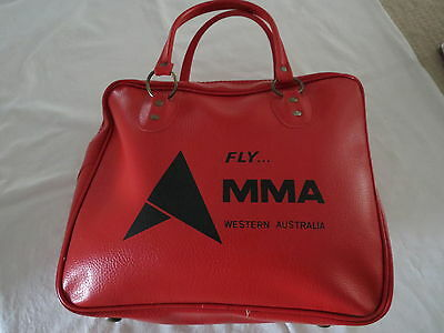Macrobertson & Miller Airlines Carry Bag West Australia 1970's Fly Mma Retro Red