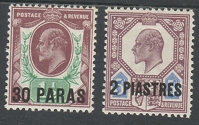 British Levant 1911 Kevii 30Pa On 11/2D And 2Pi On 5D