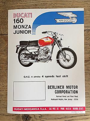 ORIGINAL DUCATI 160 MONZA JUNIOR Motorcycle Sales Specification Leaflet c1964-67
