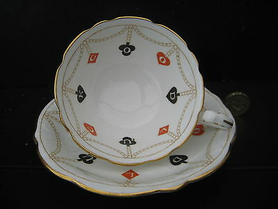 Rare Vintage Aynsley Bone China Cabinet Cup Saucer Good Luck Cards Poker Bridge