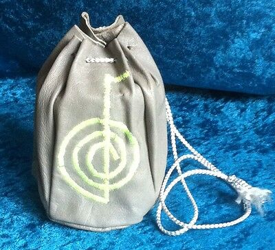 Grey leather drawstring bag purse embroidered floro UV yellow reiki cho ku rei