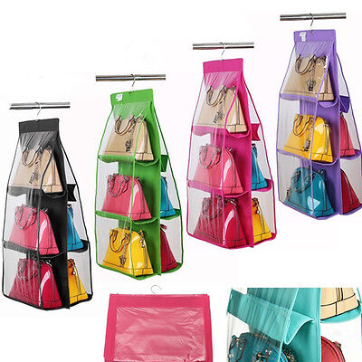 6 Pocket Door Hanging Storage Closet Hanger Shelf Bags Purse Handbags Organizer