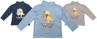 Boys Disney Baby Winnie the Pooh Bear Camping Roll Neck Top Tee 6 to 23 Months