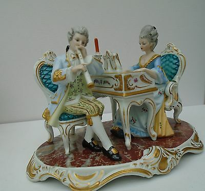 Dresden Sandizell Figurine Lady At Piano With Male Flute Player 1960's