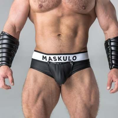 Maskulo Backless Rubber-Look Briefs with Cod Piece Pouch, Black