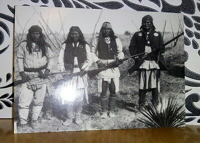 Geronimo, son & 2 picked warriors, Arizona Historical Societies Postcard