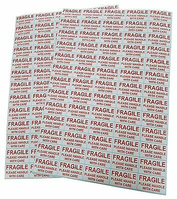130 / 260 / 520 / 1040 x FRAGILE PLEASE HANDLE WITH CARE  Stickers / Labels