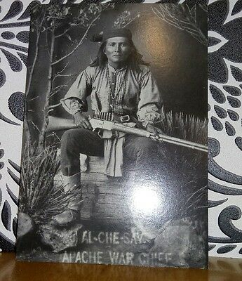 Al-Che-Say, Apache Chief, Arizona Historical Societies Postcard.