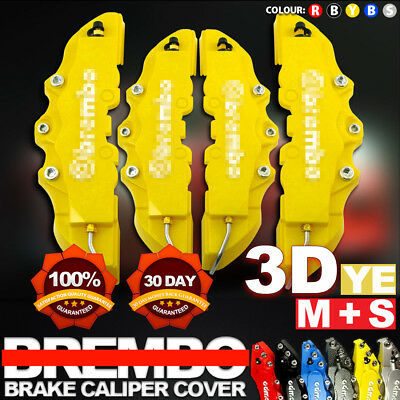 4Pc Yellow 3D Brake Caliper Covers Style Disc Universal Car Front Rear Kits CY01