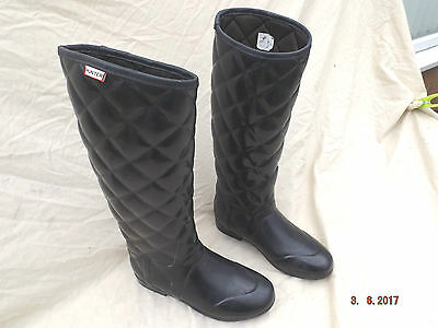 "Hunter Ladies Long Black Rubber Riding Boots,14"" Calf,size 5 Uk,lined,faulty"