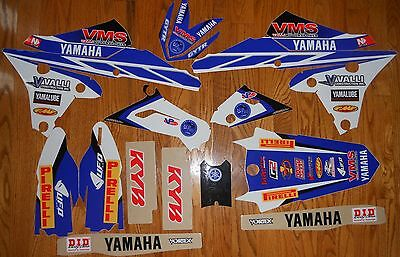 YAMAHA TEAM VALLI YZ250F YZ450F GRAPHICS KIT ( 2014 2015 2016 ) with WHITE B/G`s