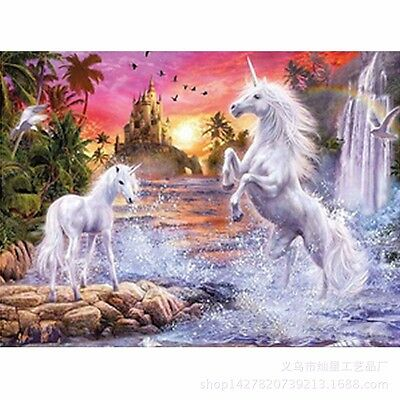 5D 3D 2 Unicorns Embroidery Cross stitch Mosaic resin tile picture kit