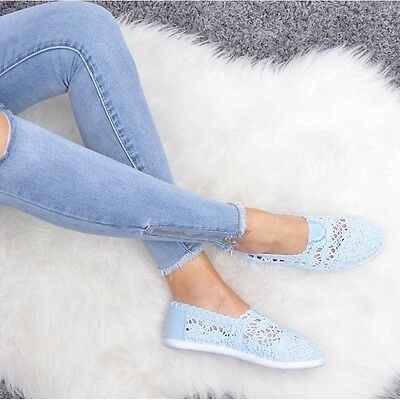 New Women's Ladies Lace Crochet Shoes Pumps Slip On Spring Summer Size