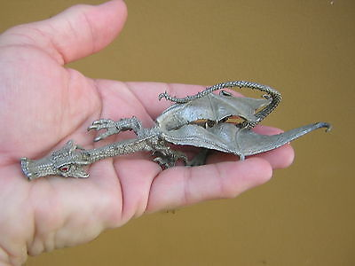 Vintage Detailed Pewter Winged Dragon Statue Figure Dungeons + Dragons Fantasy