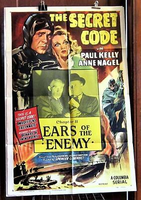 1953 THE SECRET CODE Chapter 11 One-Sheet Poster rerelease of the 1942 Serial