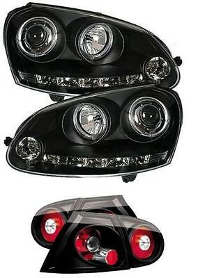 Black Angel Eye Headlights with LED DRL and Black Rear Lights FOR: VW Golf Mk5