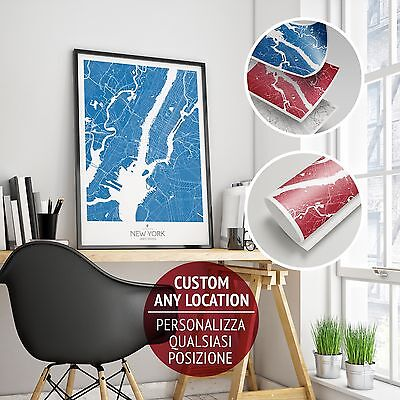 Stampa Giclee New York Map - Wall Art Print Poster Minimalista Alta Definizione
