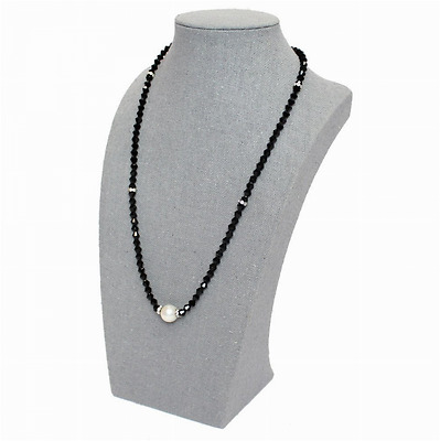 Gray Fabric Covered Linen Necklace Jewelry Accessory Display Bust New