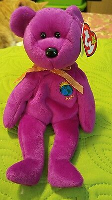 Ty beanie baby millennium bear with ERROR