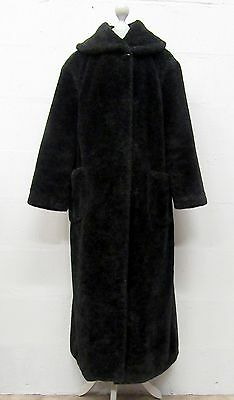 VINTAGE 90s SUPER SOFT BLACK TEDDY BEAR GLAMOROUS FAUX FUR LONG COAT SIZE 18
