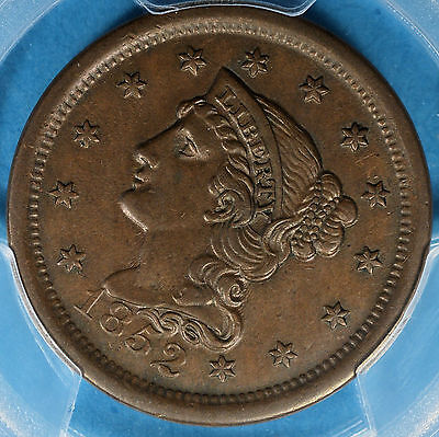1852 Braided Hair Large Cent PCGS AU55- Nice Patina, Surfaces, Eye Appeal