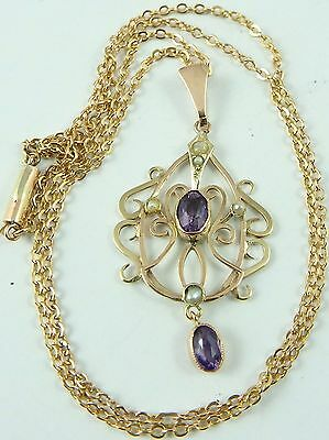 9 Carat gold Edwardian pearl and gem set pendant on a 17 inch 9ct chain