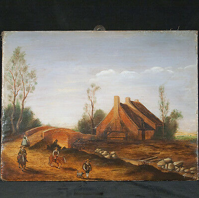 ANTIQUE PAINTING LANDSCAPE Figure horses Flemish country OIL on WOOD BOARD RARE!