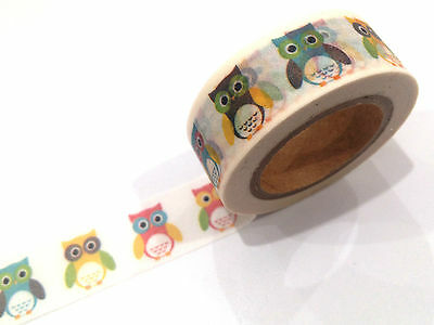 1PC Japanese Washi Tape Craft Sticker, Rainbow Owl Bird Animal 10M