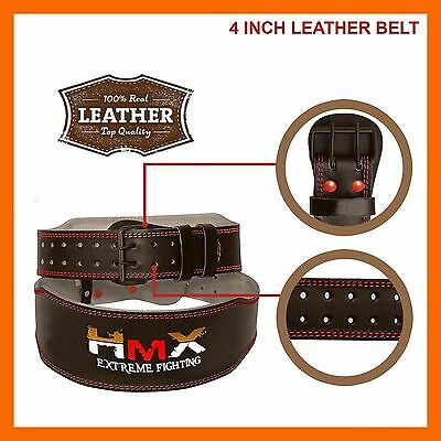 Weight Lifting Belt 4 Inch Leather Back Support Fitness Training Gym Exercise M