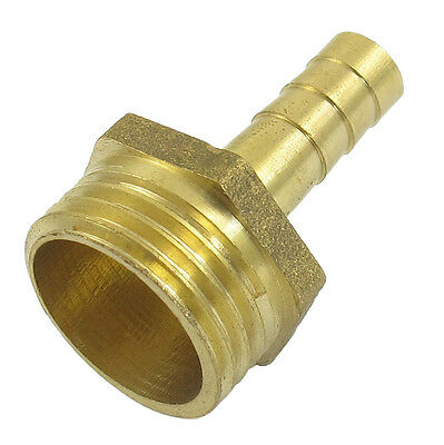 "Gold Tone Brass 8mm Fuel Gas Hose Barb 1/2"" Male Thread Coupling Fitting W4O4"