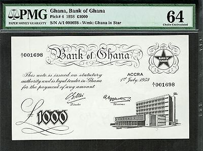 Ghana 1958 £1000 Pounds P4 Prefix A1 Low Serial Unc Pmg 64 Rare