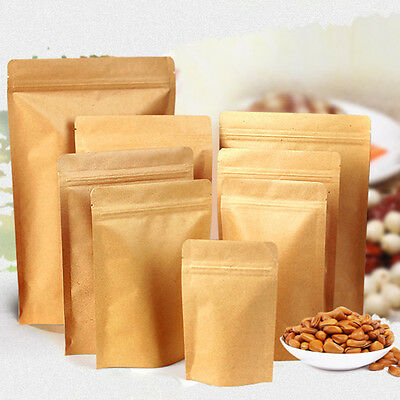 Resealable Zip Lock Kraft Paper Foil Bag/Pouch Stand Up Heat Seal/ Food Grade