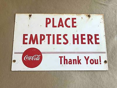 Old Coca-Cola Place Empties Here Metal Bottle Sales Rack Soda Advertising  Sign